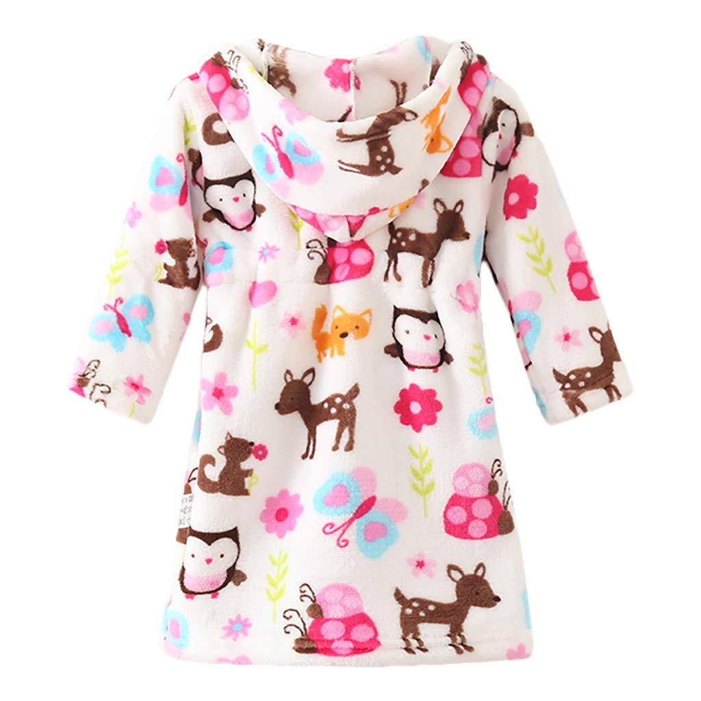 12-24 Months, Beige Gallity Kids Boys Girls Bathrobes,Toddler Baby Thicken Hooded Robe,Soft Plush Flannel Robes Pajamas Sleepwear for Girls Boys