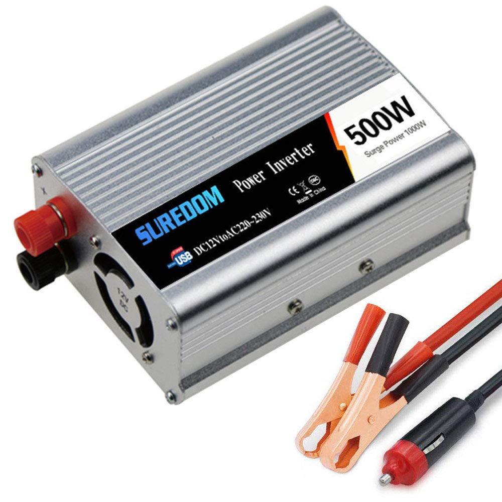 LIMEID 500W (Peak 1000W) Pure Sine Wave Voltage Converter Inverter 12V / 24V To AC 110V/220V/230V/240V Car Inverter With USB Charging Port For Laptops, Cameras, Smartphones,12vTo110v