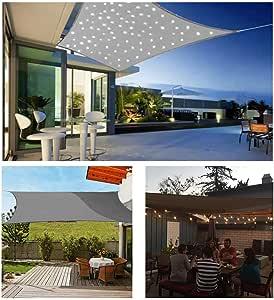 HOXMOMA Toldo Vela de Sombra Rectangular Gris con Luces LED, protección 95% UV y Transpirable Impermeable, para Jardín, Patio, Exteriores, Pergola Decking,Gris,3×4m: Amazon.es: Hogar