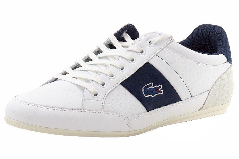 Lacoste Men's Chaymon 216 1 Fashion Sneaker, White/Navy, 9.5 M US