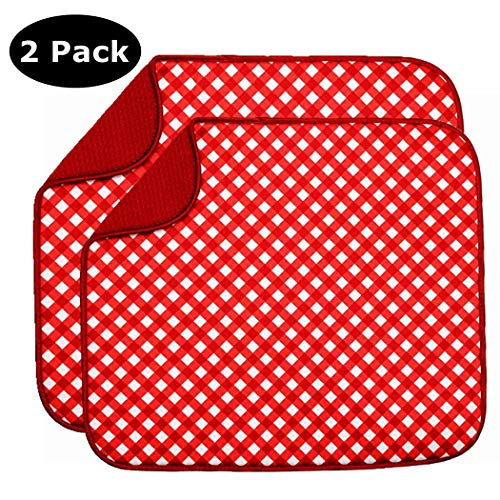 Baby Bottle Drying Mat, Dish Drying Mat 2 Pack Drying Pads for Kitchen Countertop, Dishes Absorbent (16