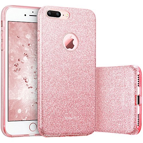 "iPhone 7 Plus Case, ESR Luxury Glitter Sparkle Bling Designer Case [Slim Fit, Hard Back Cover] Shining Fashion Style for Apple iPhone 7 Plus 5.5"" (Rose Gold)"