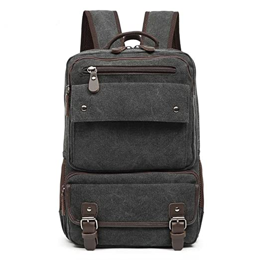 bae3c7352c29 Amazon.co.jp: スクエア 通勤 通学大型キャンバスリュック/バックパック/帆布バッグ メンズ/デイバッグ カバン コットンバッグ 鞄  シンプル A4サイズ カジュアル 軽量 ...