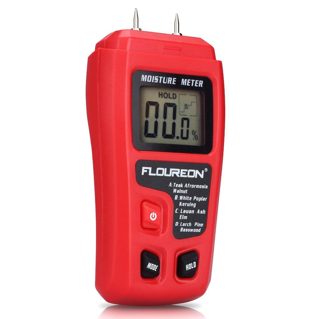 Feuchtigkeitsmessgerä te Digital Holz Feuchtemessgerä t Feuchtigkeitsmesser Feuchtigkeits-Detector mit 2 Pins Sensor fü r Holz Brennholz Pappe Papier Beton Baumaterialien inkl. Batterie FLOUREON