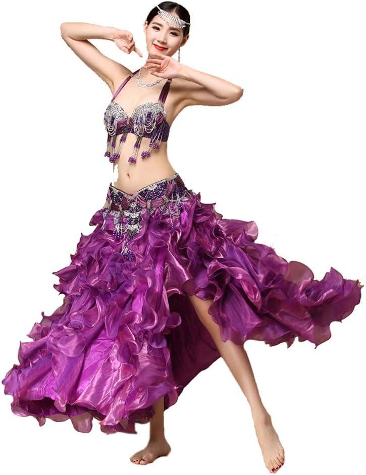 ベリーダンス衣装セット女性セクシーな部族のベリーダンスブラジャーベルトカーニバルプロのダンススーツ衣装 ベリーダンススカート (色 : 紫の, サイズ : M) 紫の Medium