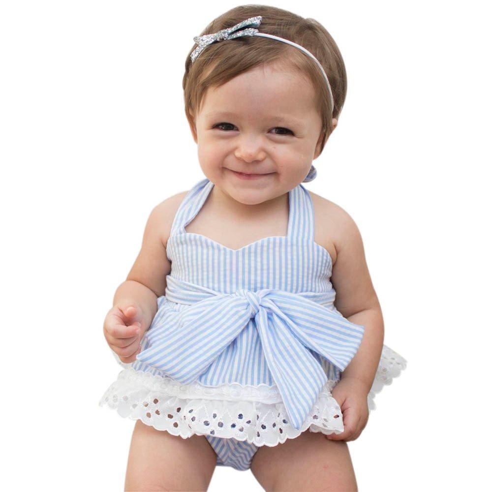 Covermason Bebé Niñas Bowknot Camiseta y Pantalones cortos y Venda(1 Conjunto) (12-18M, Azul claro) Covermason-32