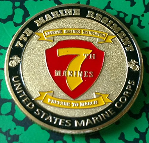 (USMC Marine Corps 7th Marine Regiment Military Colorized Challenge Art Coin)