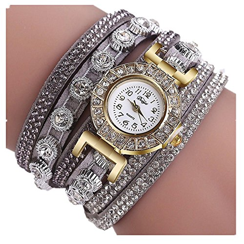 (AmyDong Women Fashion Casual Analog Quartz Women Rhinestone Watch Bracelet Watch Circle Bracelet Watch Watch (Gray))