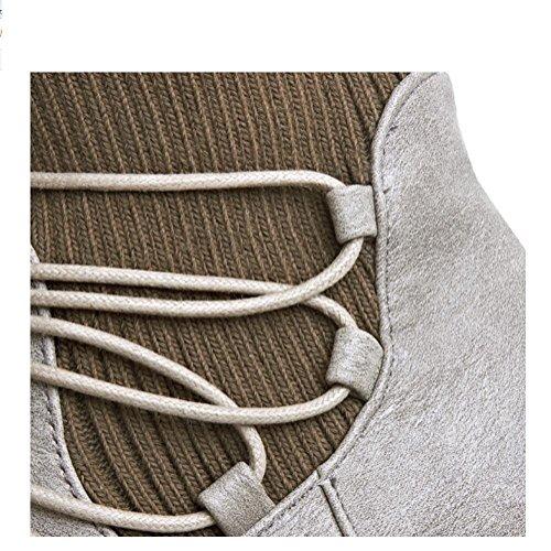 Ei&iLI Printemps des femmes / automne / hiver Bootie / Fashion bottes simili cuir talon plat Casual Lace-up noir / gris , gray , 33