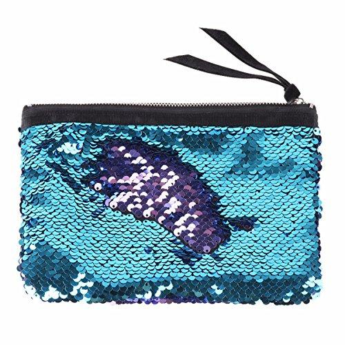 Brillant Maquillage à Fermeture Femme Bleu Violet Glissière Trousse Paillettes amp; monnaie Porte avec Pochette à Sac à Sac Main à TiaoBug Multifonctions 80Fxgvv