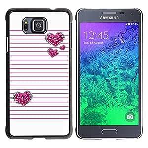 Paccase / SLIM PC / Aliminium Casa Carcasa Funda Case Cover - Pink Silver Glitter White Lines Pattern - Samsung GALAXY ALPHA G850