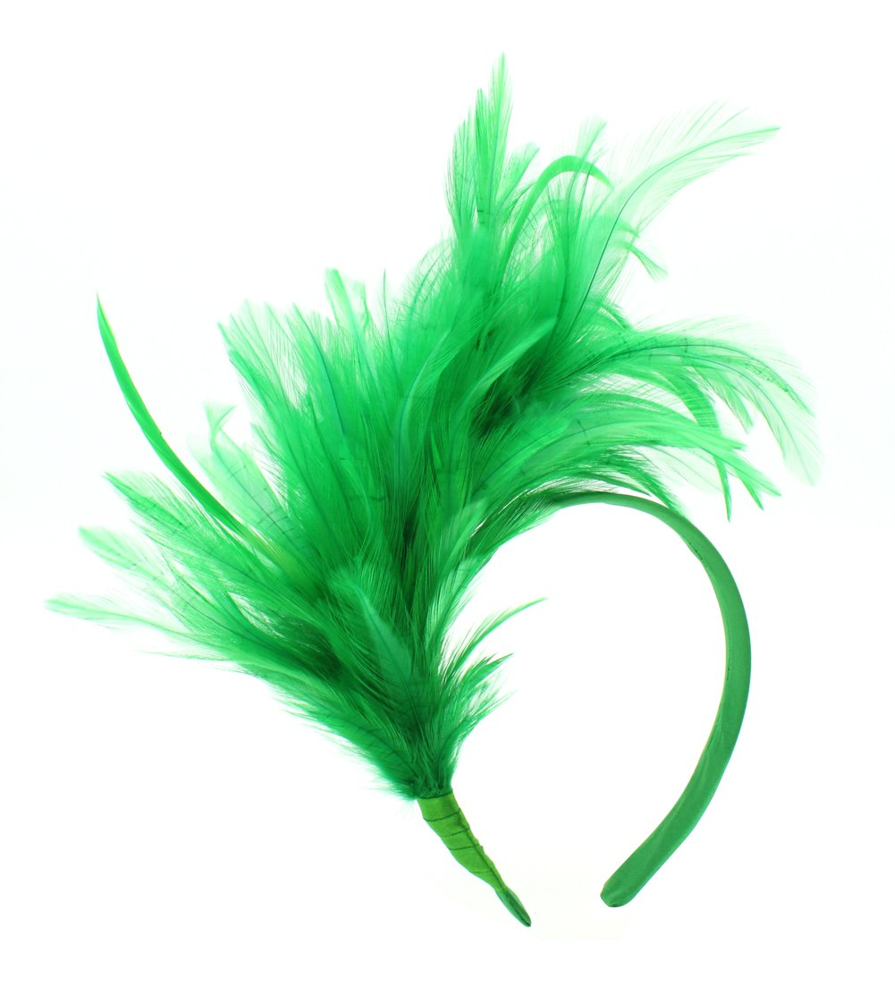 Felizhouse 1920s Fascinator with Feathers Headband for Women Kentucky Derby Wedding Tea Party Headwear, St Patricks Day Green, One Size