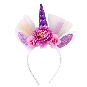 Unicorn Headband Horn Flower Decoration with Ear Cosplay Costume HO3