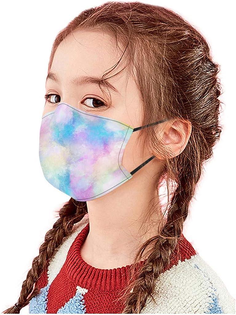 Geilisungren 1//5//10 pezzi copertura per il viso per bambini tie-dye stampato sfumato colore ghiaccio in Seta di ghiaccio lavabile riutilizzabile regolabile cinghie auricolari antipolvere bandane