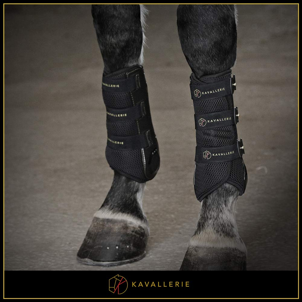 Dressage Boots for Horses by Kavallerie: Pro-K 3D Air-Mesh Horse Boots, Secure Leg Protection, Lightweight and Tough White & Black Dressage Sports Boots [Black] by Kavallerie (Image #2)