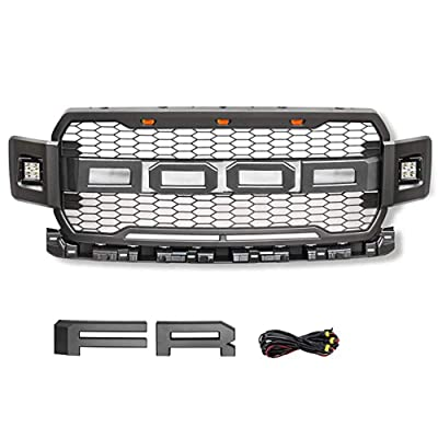 ABS Replacement Grille for 2020 FORD F150 Raptor Gray Front Grille with LED Lights(No side lights): Automotive