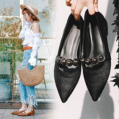 Glisser de Pointu Unique Femmes sur EUR35UK3 NVXIE Pied Appartements Intelligent Confort Travail Chaussures BLACK Flneurs Décontractée Doigt tCgBWqz