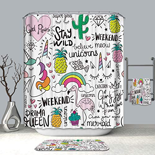 "Ezlif Unicorn Rainbow Home Decor Shower Curtain, Flamingo Pineapple Diamond Cacuts 70"" x 70"" Polyester Waterproof Mildew Resistant Bathroom Shower Curtains Liner with 12 Rust Proof Hooks"