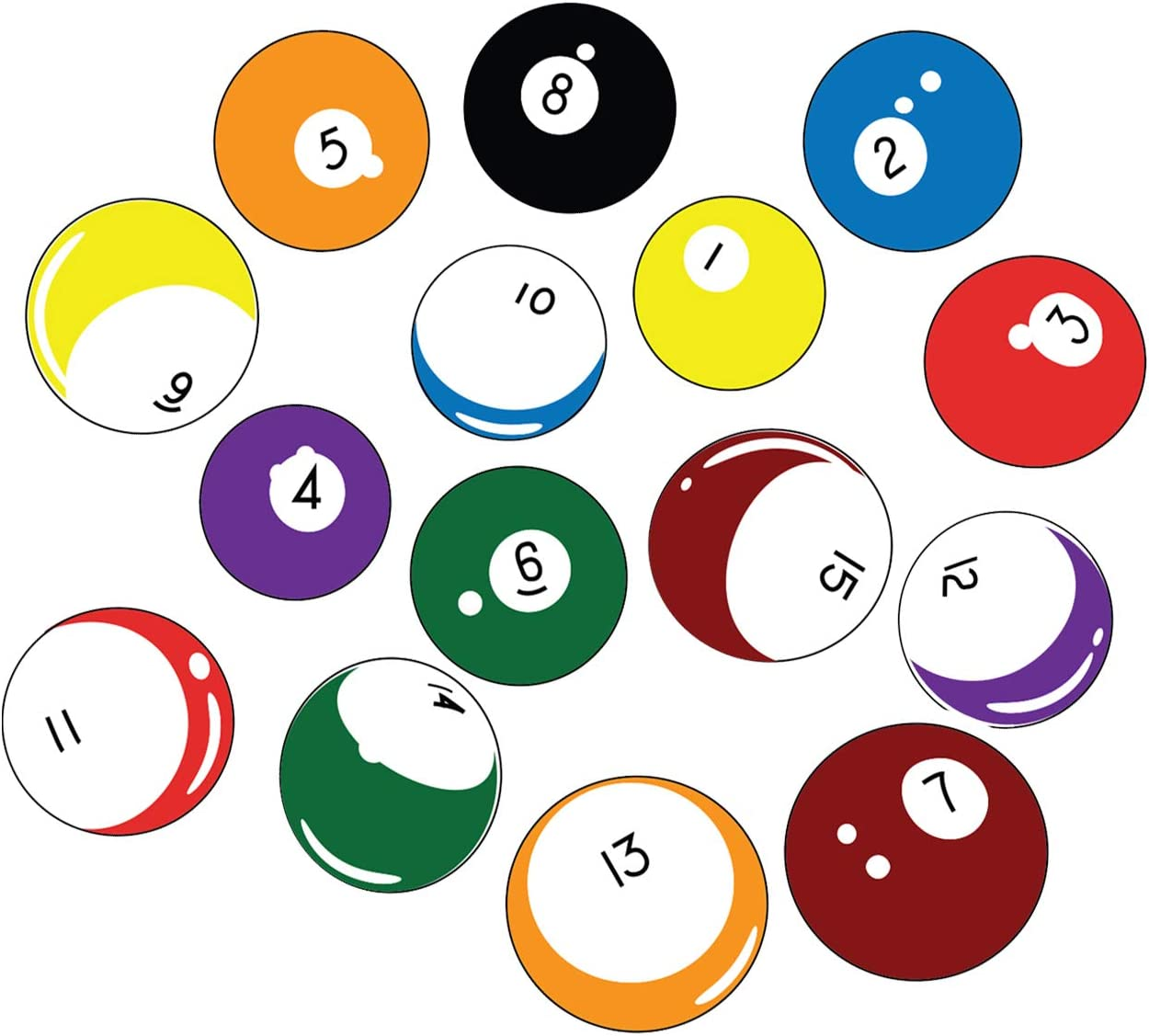 Stickerbrand 15 Billiard Balls Wall Decal Stickers Printed Graphic Game Room Decor Vinyl Wall Art (Range from 8in x 8in to 11in x 11in in Size) #OS_MB130A. Easy to Apply & Removable.