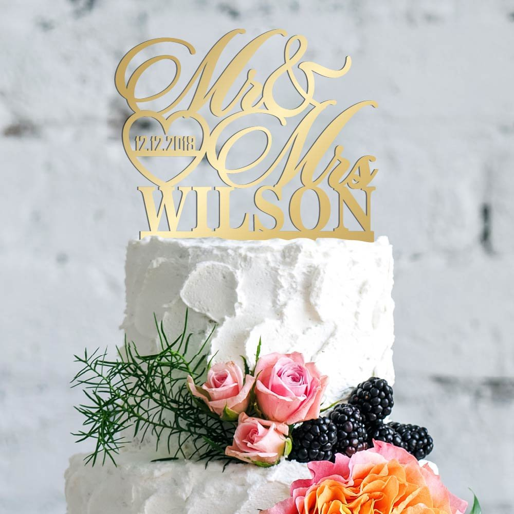 Personalized Wedding Cake Toppers, Custom Cake Topper Wedding Cake Decoration - Mr and Mrs Cake Toppers for Bride and Groom |Wedding Favors - A2