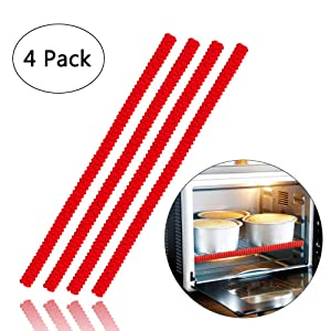 Oven Rack Guards - 4 Pack Heat Resistant Silicone Oven Rack Shields 14 inches Long Oven Rack Edge Protector Cover, Protect Against Burns and Scars