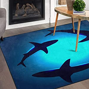 Naanle Ocean Animal Sharks Non Slip Area Rug for Living Dinning Room Bedroom Kitchen, 4' x 6'(48 x 72 Inches), Shark Nursery Rug Floor Carpet Yoga Mat