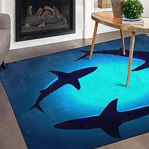 Naanle Ocean Animal Sharks Non Slip Area Rug for Living Dinning Room Bedroom Kitchen, 3' x 5'(39 x 60 Inches), Shark Nursery Rug Floor Carpet Yoga Mat
