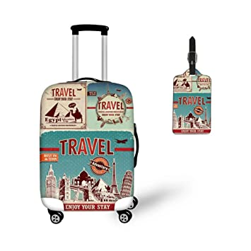 5086b945c70a CHAQLIN Travel Printed Elastic Luggage Cover Protector Suitcase Tags Travel  ID Identification Labels 18-21 Inch Luggage
