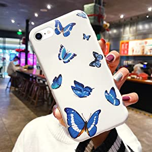 Urarssa Girls Case for iPhone 7 Plus Case iPhone 8 Plus Case Cute Butterfly Pattern Design for Girls Women Shockproof Soft TPU Rubber Silicone Protective Case Cover for iPhone 7 Plus/8 Plus, Blue