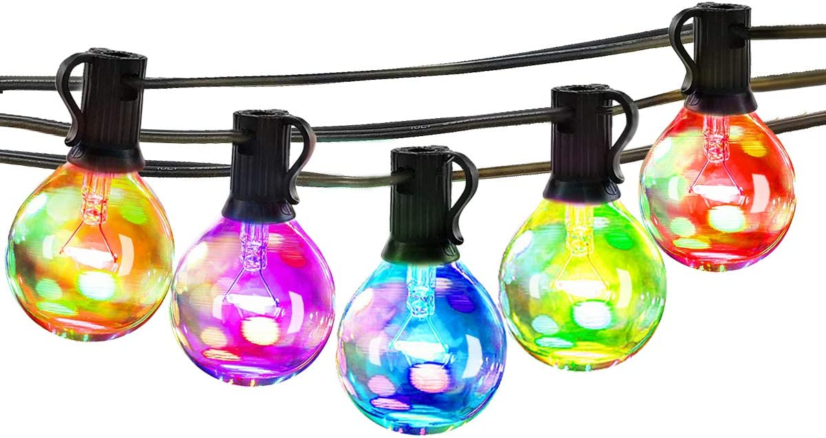 25Ft Multicolor Outdoor String Light – G40 Led Patio Lights String for Backyard Or Party,Vintage Edison Light, Waterproof, Dimmable,25 Bulbs 5 Colors