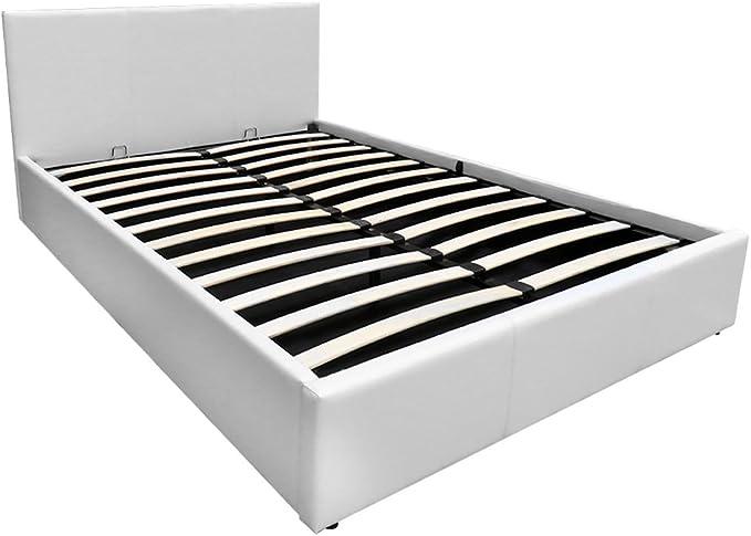 5 pies king tamaño Gas Lift Up para cama, somier con cabecero de cama de piel sintética de almacenamiento Otomano para dormitorio muebles