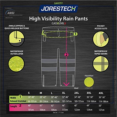 JORESTECH Light Weight Waterproof Rain Pants ANSI/ISEA 107-2015 Class 3 Level 2 Black and Yellow (3X-Large) by JORESTECH (Image #4)