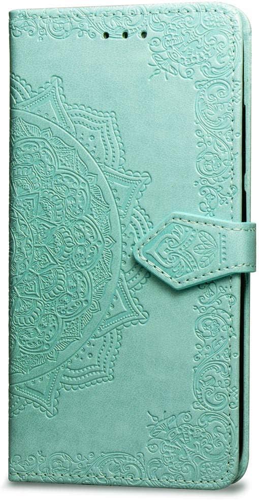 Oihxse Funda con LG Q9/G7 FIT, Cuero PU Billetera Cierre Magnético Flip Libro Folio Tapa Carcasa Relieve Soporte Plegable Ranuras para Tarjetas Protección Caso(Verde)