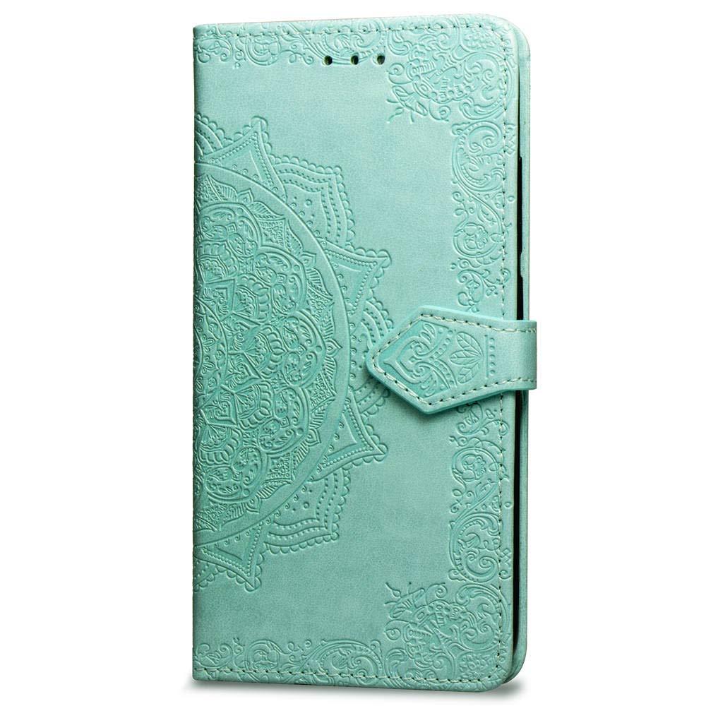 FNBK H/ülle Case f/ür iPhone XR 6.1 Handyh/ülle Mandala Schutzh/ülle Gr/ün Flip Tasche Leder Bookstyle Lederh/ülle Slim Handytasche Wallet Stand Kredit Kartenf/ächer Magnetverschluss
