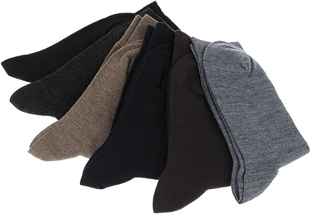 Andyshi Mens 3 Pairs Unique Solid Color Cotton Wool Blended Mid Long Calf Plus Size Business Casual Socks