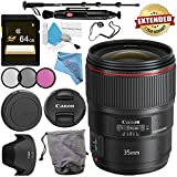 Canon EF 35mm f/1.4L II USM Lens 9523B002 + 72mm 3 Piece Filter Kit + 64GB SDXC Card + Lens Pen Cleaner + Fibercloth + Lens Capkeeper + Deluxe 70 Monopod + Deluxe Cleaning Kit Bundle