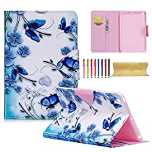 iPad Mini 1st Gen Case, iPad Mini 2 3 Magnetic Cover, UUcovers Lightweight Synthetic Leather & TPU [Auto Wake/Sleep] [Card Slots] Folio Stand Protective Case for iPad Mini 1/2/3, Blue Butterfly Flower