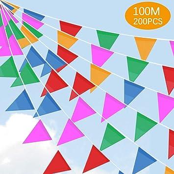 SaponinTree 100M Multicolor Bandera Banderín, 200 Pcs Nylon Tela Decoraciones Banderas de Triángulos para cumpleaños, Boda, Hogar, Fiesta de ...