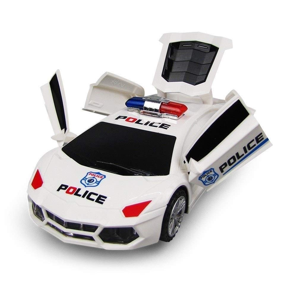 KRCT Electric 360° Rotate Deformation Toy Police Car with Colorful Light and Sound Automatic Door Opening Creative Toy Vehicle for Boys and Girls Age 5+ by KRCT