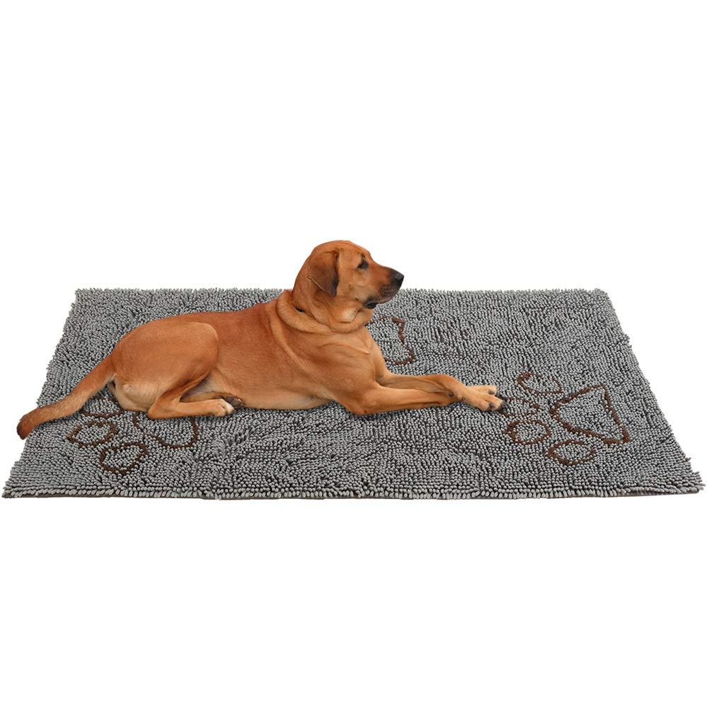 PUPTECK Super Absorbent Dirty Dog Doormat - Non Skid Microfiber Pet Door Runner Mat Grey XL