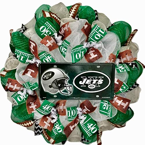 New York Jets Football Sports Wreath Handmade Deco Mesh (Deco Jet)