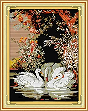 Joy Sunday Cross Stitch Kits 11CT Stamped Coloured Lion 18.9x21.2 or 50cmx41cm Easy Patterns Embroidery for Girls Crafts DMC Cross-Stitch Supplies Needlework Animal Series