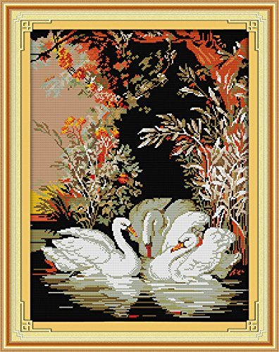 Joy Sunday Cross Stitch Kits 14CT Counted Swans in The Lake 16.1