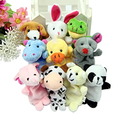 Shaoge 10pcs Cartoon Biological Animal Finger Puppet Plush Toys: Toys & Games