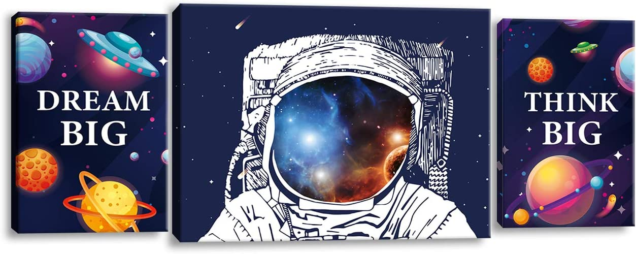 Hijie Space Astronaut Inspirational Quotes Canvas Wall Art, Prints Framed Artwork Gifts Children's Playroom Nursery Decoration, Teen Boy Girl Room Decor,3 Panels.