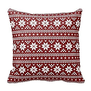 Amazon.com: Rustic Red Fair Isle Holiday Throw Pillow: Home & Kitchen