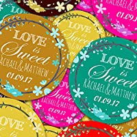 "Graphic Flavor Wedding Elegant Personalized Sticker Labels (70 Stickers @ 1"" Inch) Ideal for Reward Treat Favor Party Bags Candy Cones Jars Gift Boxes Bottles Crafts"