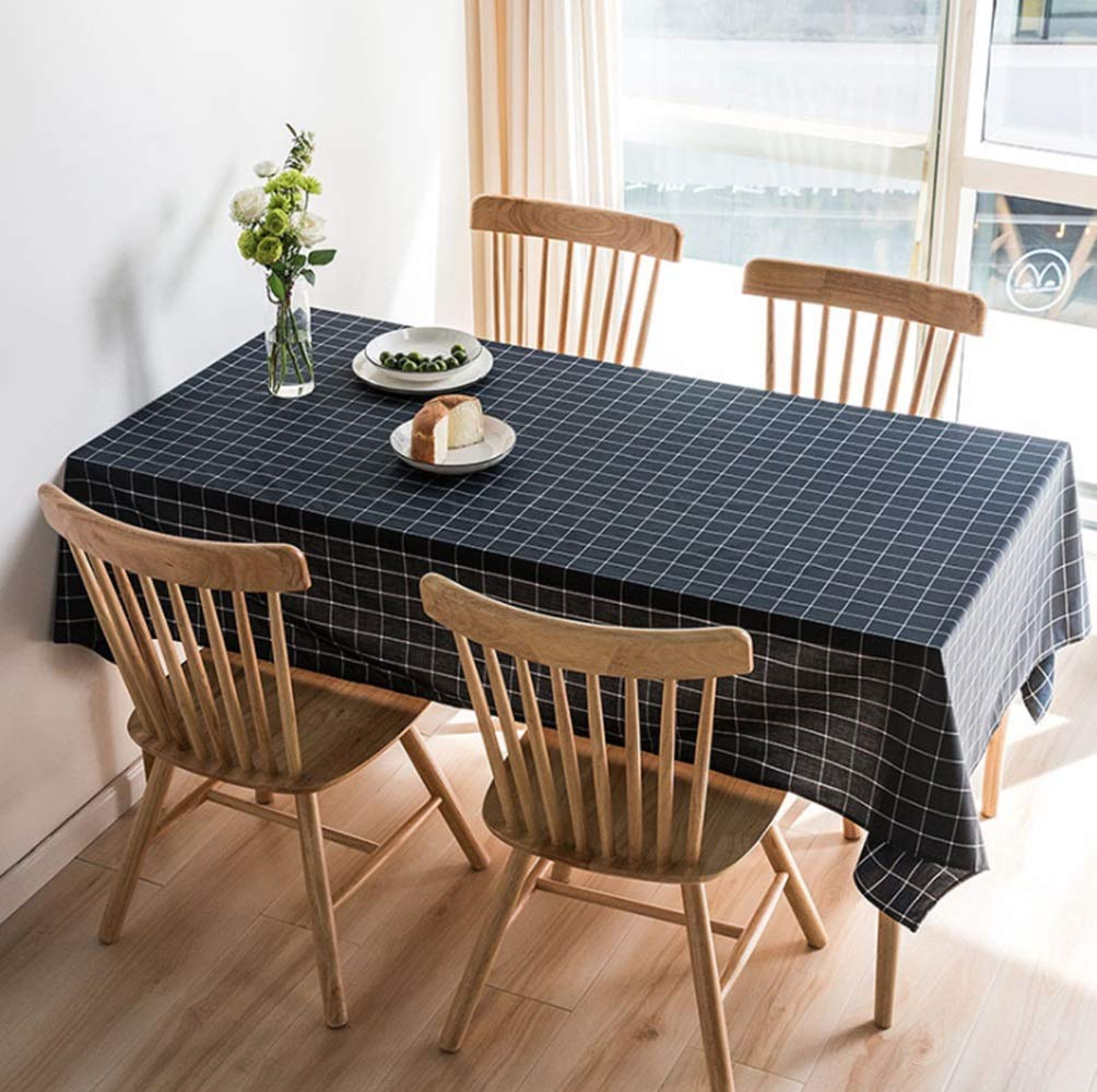 JPAKIOS 防水油防具のテーブルクロス綿とリネンの芸術新鮮な北欧スタイルのテーブルマットチェック柄のコーヒーテーブルクロス (Color : ブラック, サイズ : 140*220cm) 140*220cm ブラック B07PSCJ82M