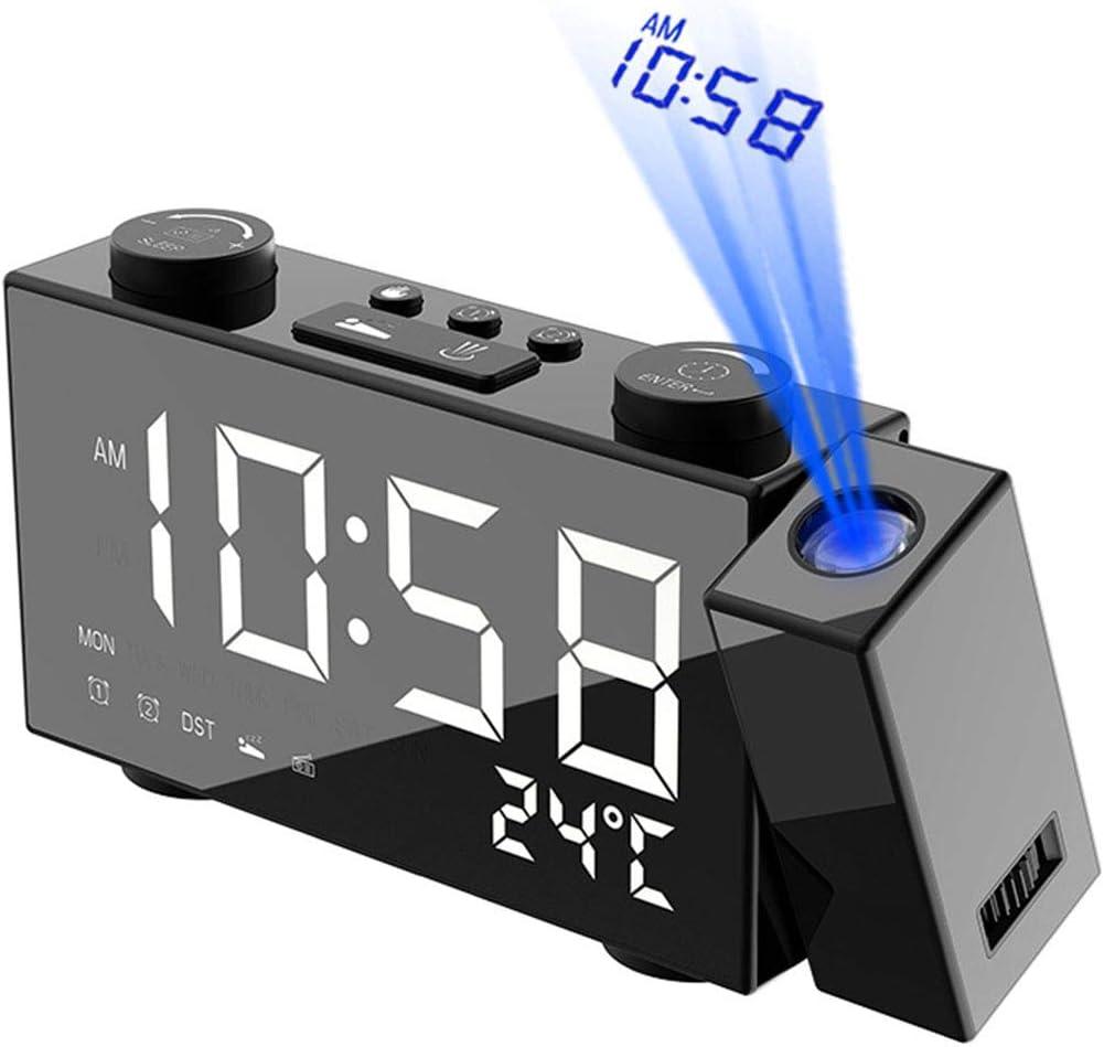 Couleur de l/écran: Bleu Yudanny r/éveil /à Projection avec Radio FM projecteur 180 /° Double Alarme Chargeur USB thermom/ètre et Mode de r/ép/étition