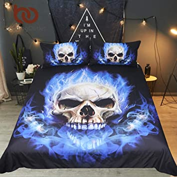 f6966135252 Amazon.com  Best Quality - Bedding Sets - Flame Skull Bedding Set 3D Print  Gothic Duvet Cover Blue Bedclothes Fashion Home Textiles for Boys Size US  Queen  ...